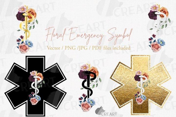 Floral golden Medical Emergency symbol printable decoration.
