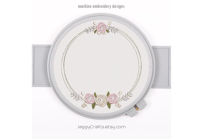 Floral wreath embroidery frame design roses flower bunch