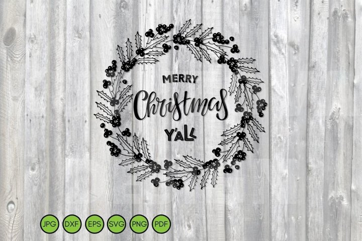 Christmas SVG. Holly berry Wreath SVG. Nature border.