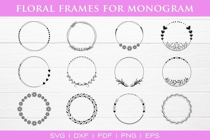 Floral Frames Bundle, 12 Floral Frames, SVG DXF PNG PDF EPS