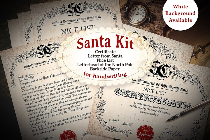 Victorian Santa Kit - Printable - for Handwriting