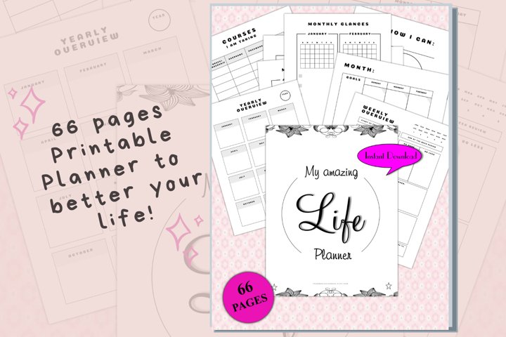 Amazing Life Printable Planner 66 pages