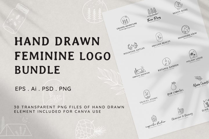 Hand Drawn Feminine Logo Bundle