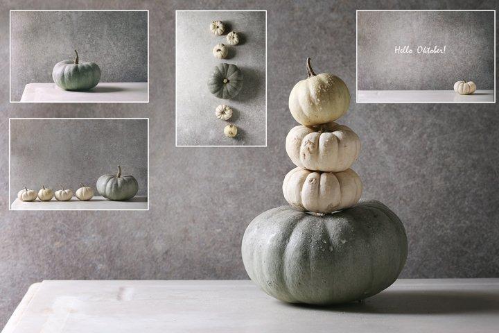Set of 5 stylish grey pumpkins photos