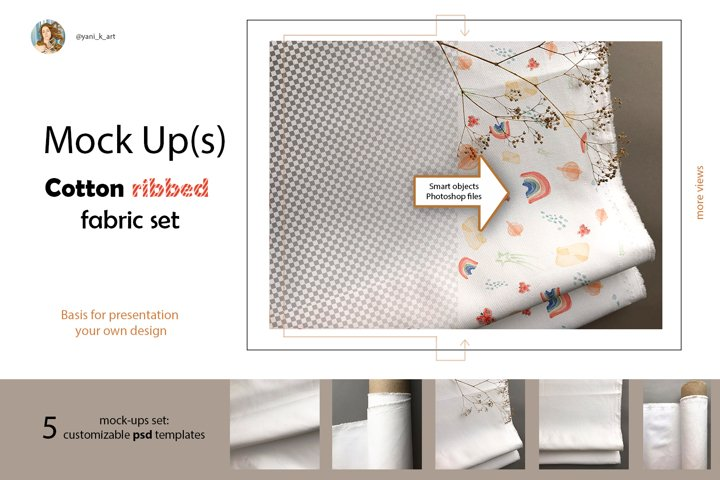 Mock ups fabric roll, stack, folds, surface mockup in PSD