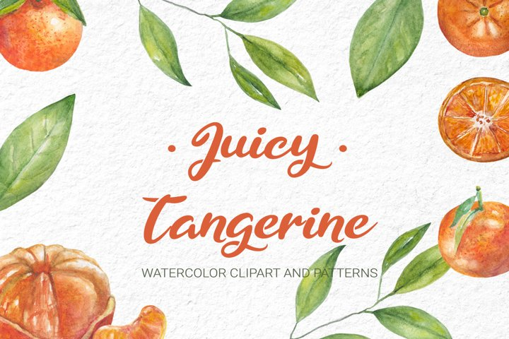 Watercolor Tangerine Clipart and Patterns Collection