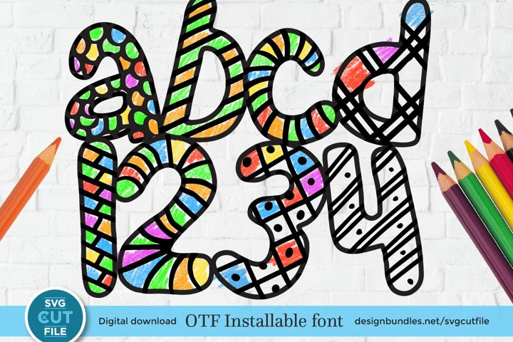 Coloring book font, coloring book otf, print and color font