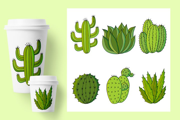 Set of cartoon images of cacti