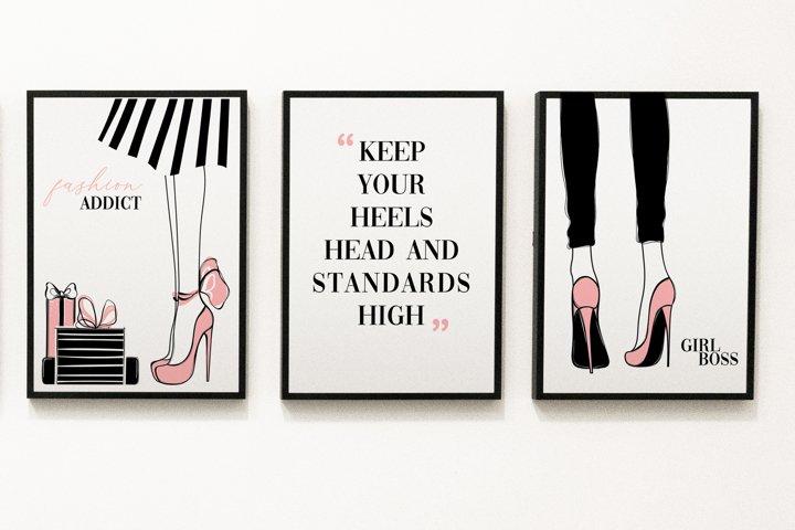 Fashion set wall art, printable wall art, minimalist art