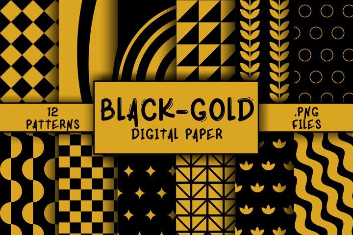 Black-Gold Pattern Digital Paper