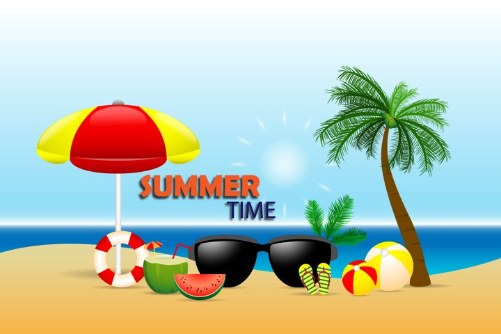 Summer time illustration in flat style design