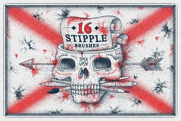16 Stipple Brushes