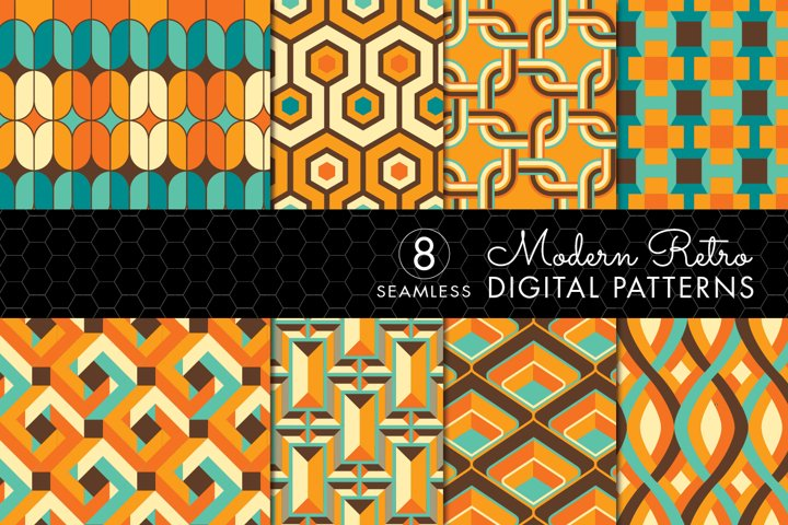 8 Modern Retro Patterns - Brown, Orange & Turquoise- Set 4
