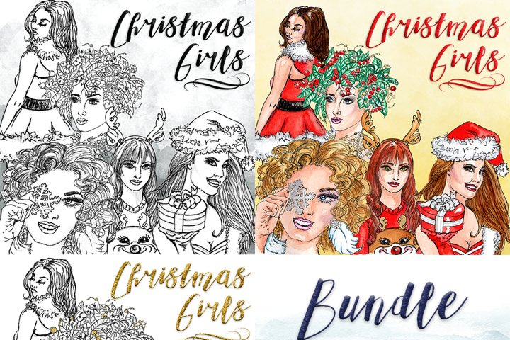 Christmas Girls Clipart