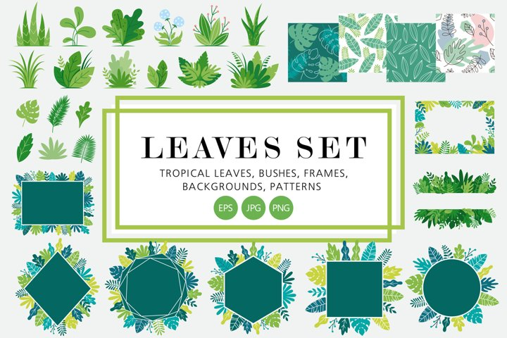 Decorative leaves set - frames, patterns, backgrounds