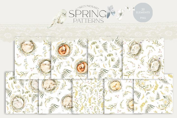 Woodland patterns. Watercolor nursery clipart