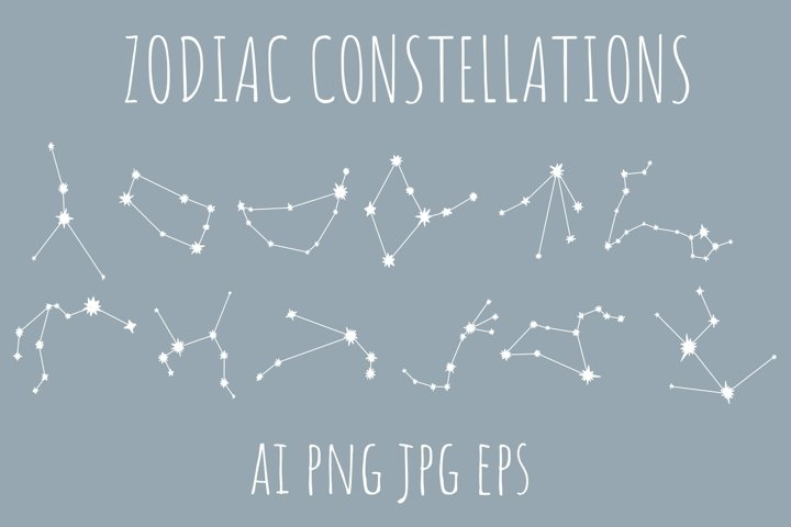zodiac constellations in eps, ai, png, jpg