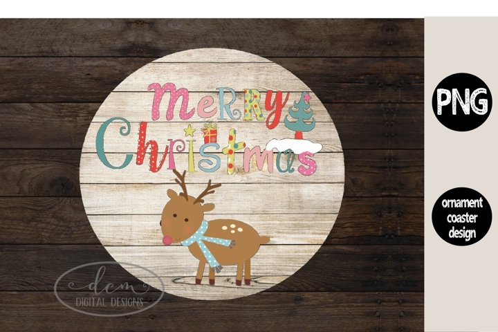 Reindeer Round Ornament Coaster Christmas design PNG