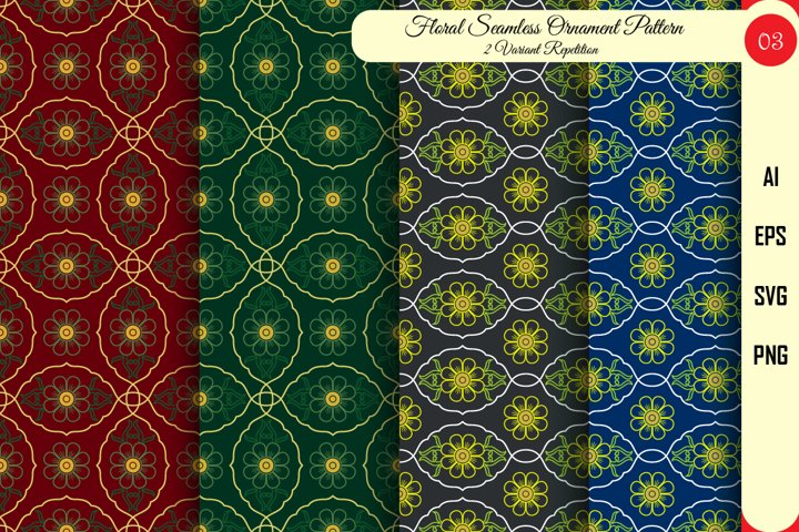 Floral Seamless Pattern-03-Vector