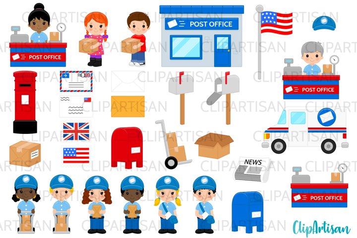 Post Office Clip Art, Mail Carrier, Mail Truck, Mailbox