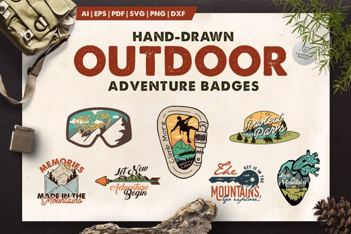 Adventure Badges   Hand-Drawn Camp Badges   Outdoor Patches