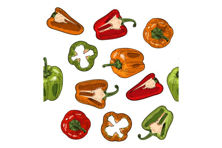 Vector seamless pattern with sweet pepper