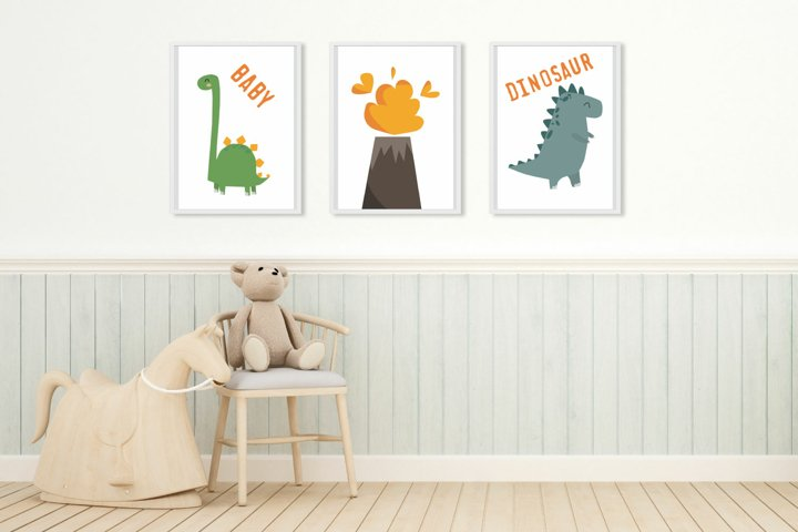 Dinosaur decor nursery wall art printable, Dinosaur poster