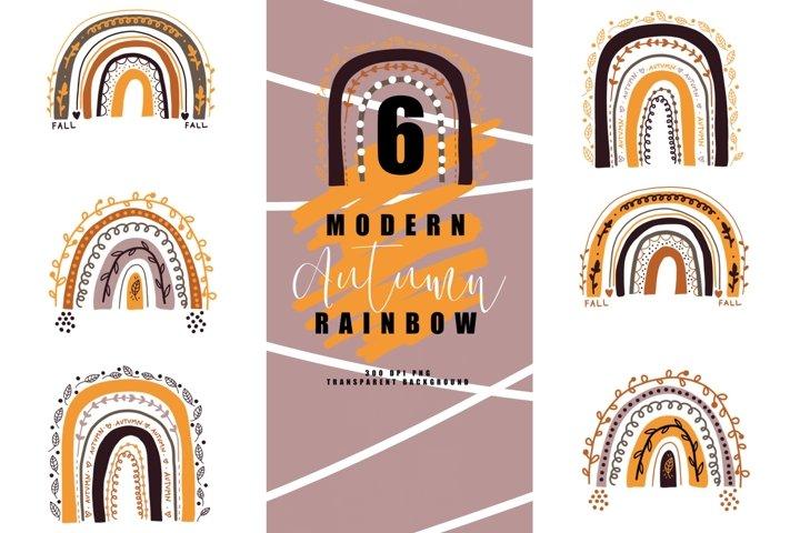 Bundle of 6 modern fall rainbow, rainbows abstract, autumn