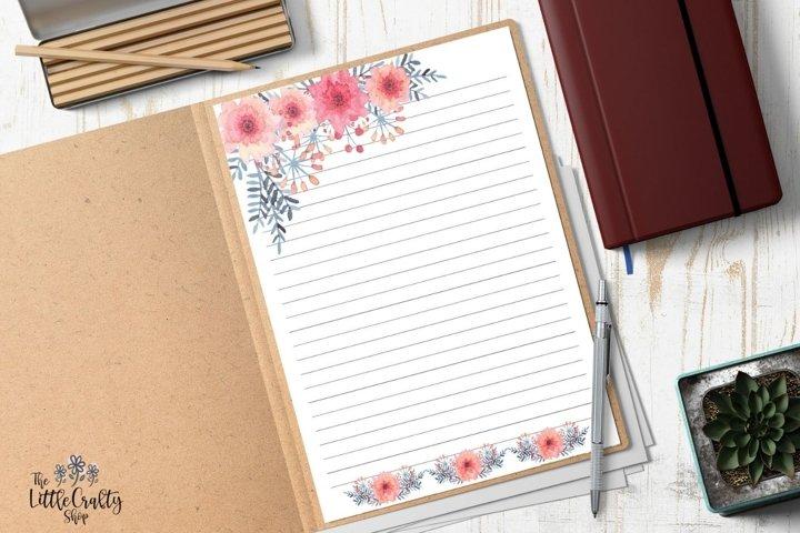Pink Floral Printable Stationery Set, Letter Paper