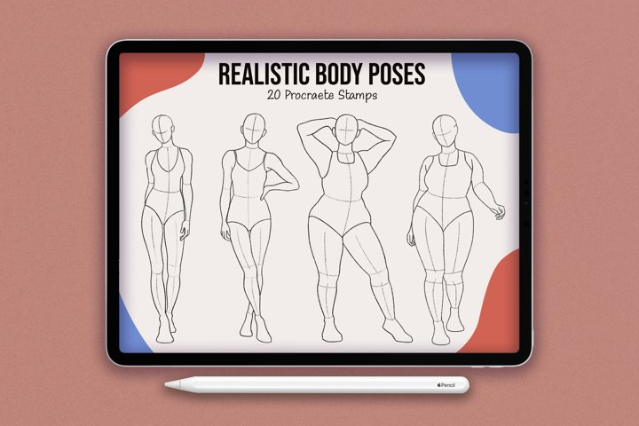 20 Realistic Body Poses Stamps for Procreate