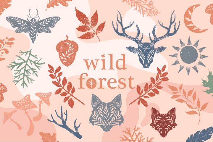 Wild forest. Vector silhouettes set