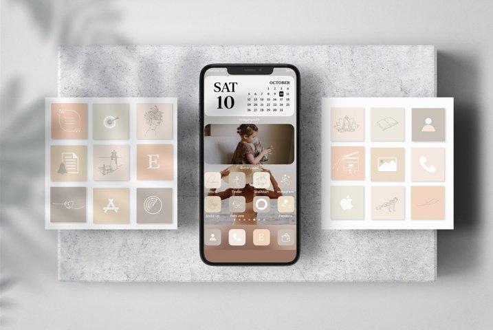 Beige iPhone iOS 14 App Icons