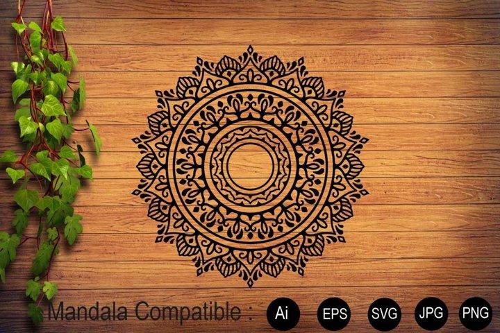 Mandala Black Flower Sublimation Design SVG PNG JPG EPS