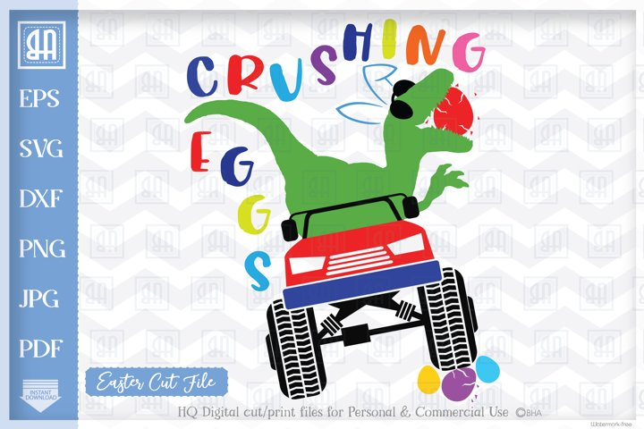 Easter Monster Truck Svg - Crushing Eggs - Easter dinosaur