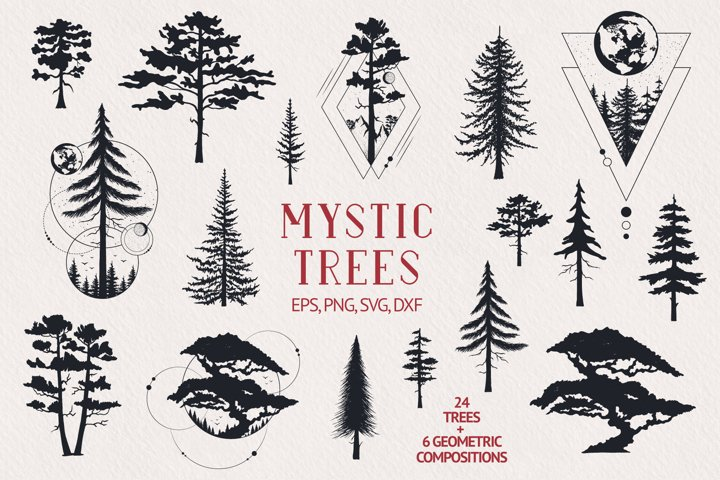 Hand drawn Mystic Trees & Geometric Compositions Collection