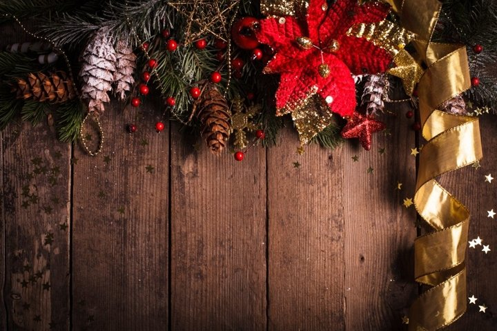 Christmas border design with red and gold