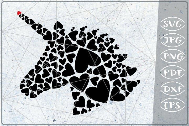 Unicorn Head Red Hearts Print in Heart SVG Cutting File Love