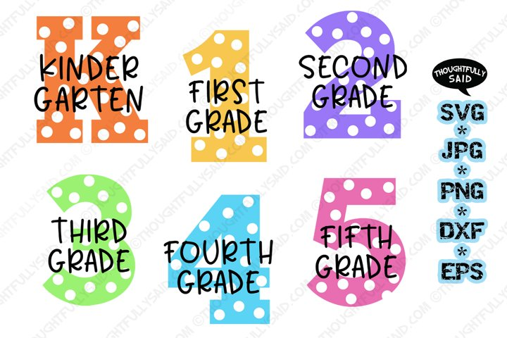 Back to School 6 pack SVG cut files PNG DXF EPS designs