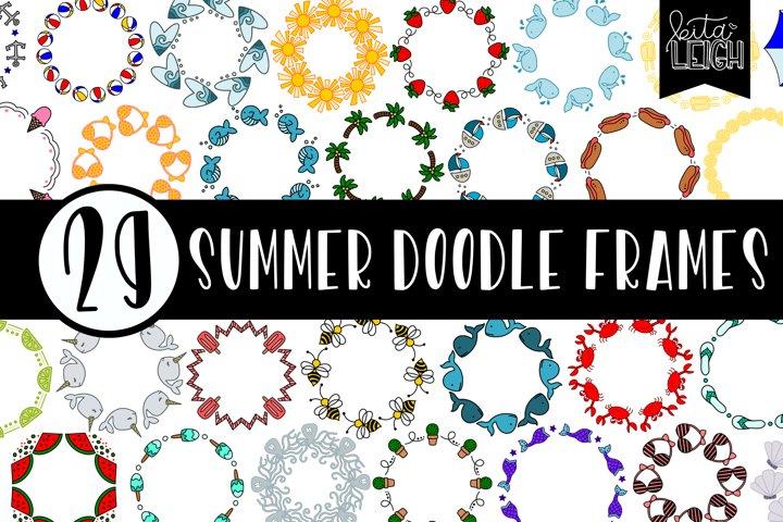 29 Hand Drawn Summer Monogram Doodle Frames Bundle