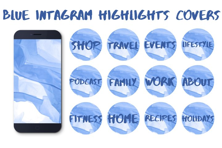 Blue instagram highlights covers