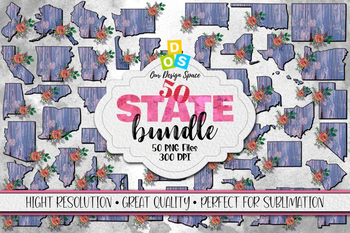 50 US State Bundle PNG files with 300 DPI for Sublimation