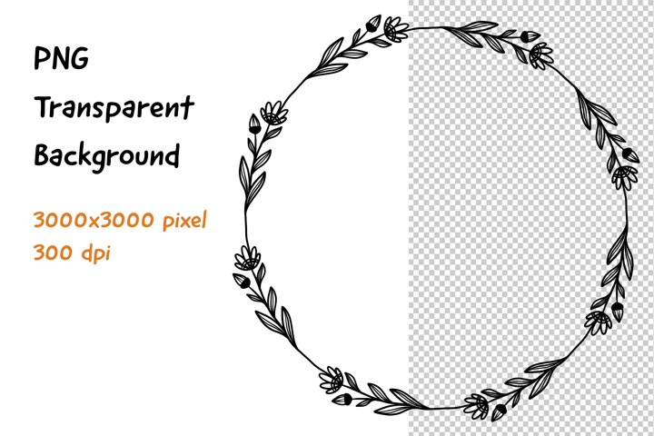 Wreath Frame Black and White PNG and JPEG