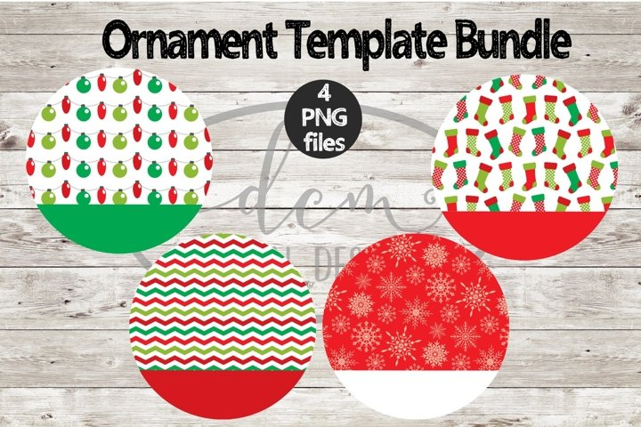 Round Ornament Coaster Christmas Template Bundle2 PNG