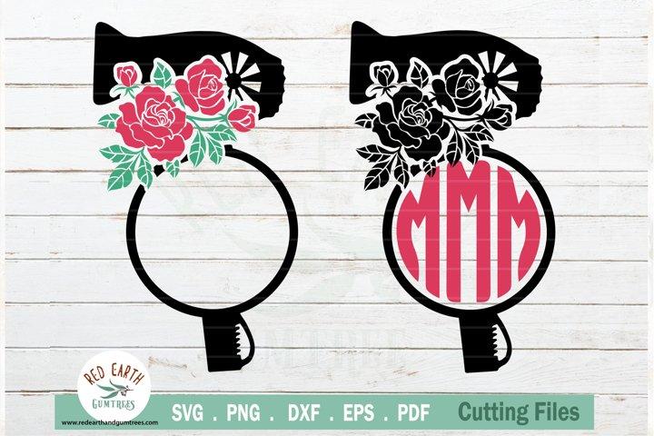 Floral Hairstylist, Barber, Rose Hairdresser monogram SVG