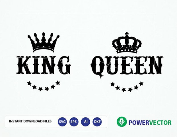 Royal Couple T shirt Design Svg. King Queen Svg. Svg cutting file, Silhouette, Dxf, PNG, Vinyl, Eps, Cut Files, Clip Art
