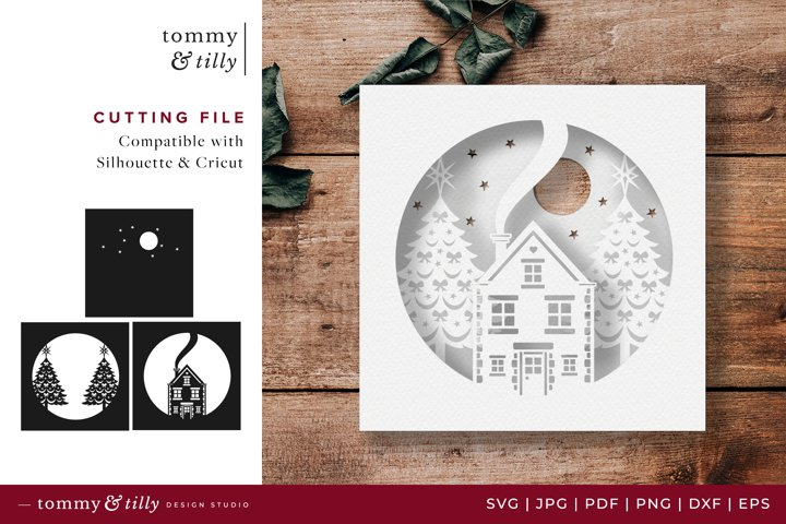 Christmas Shadow Box - SVG DXF PNG EPS JPG PDF Paper Cutting