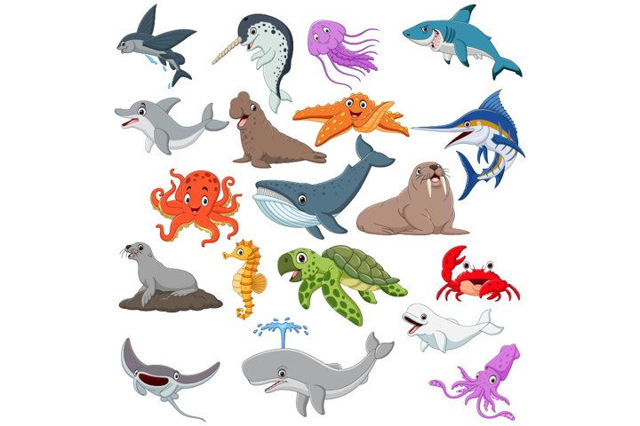Set of Nineteen Cute Cartoon Ocean Animal