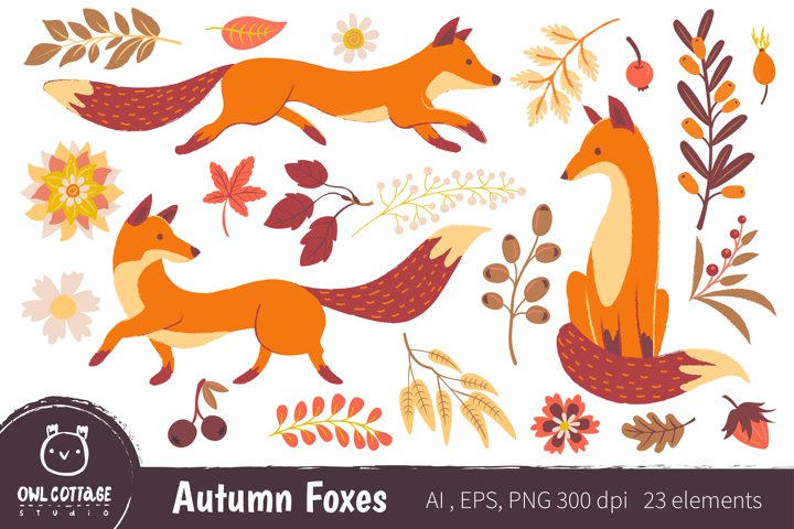 Autumn Foxes and Fall Elements, Woodland Animals Clipart