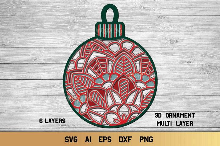 Christmas SVG Multi Layer Ornament | 3D Layered Mandala SVG