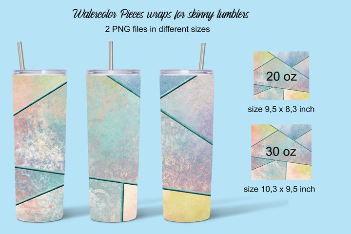 Watercolor Pieces sublimation for skinny tumblers